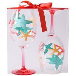 Tropix 2-pc. Colorful Starfish Wine Goblet Set