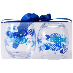 Tropix 2-pc. School Of Fish Stemless Wine Goblet Set