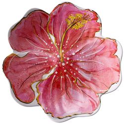 Coastal Home Flamingle Hibiscus Appetizer  Plate