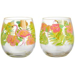 Tropix 2-pc. Flamingle Flamingo Stemless Goblet Set