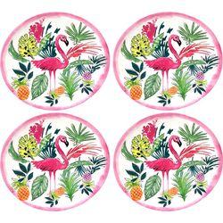 Tropix 4-pc. Pink Pineapple Flamingo Salad Plate Set