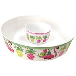 Tropix Pineapple Flamingo Chip & Dip Bowl
