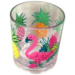 Tropix 14 oz. Pineapple Flamingo Double Old Fashioned Glass