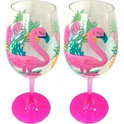 Tropix 2-pc. Pink Pineapple Flamingo Wine Goblet Set