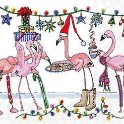 Boston International 20-pk. Winter Flamingo Cocktail Napkins