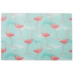 Coastal Kitchen Flamingo Beach Small Glass Cutting Board