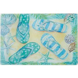 Coastal Kitchen Flip Flop Paradise Small Glass Cutting Board