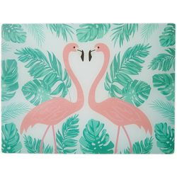 Coastal Kitchen Flamingo Pantry Glass Cutting Board