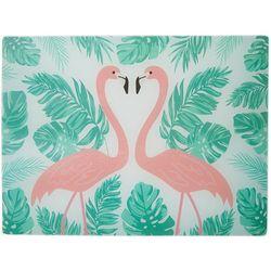 Coastal Kitchen Flamingo Pantry Glass Cutting Board