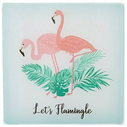 Coastal Kitchen Let's Flamingle Glass Trivet