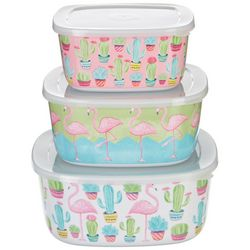 Tropix 3-pc. Cacti & Flamingo Storage Containers