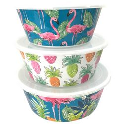 Tropix 3-pc. Pineapple & Flamingo Storage Containers