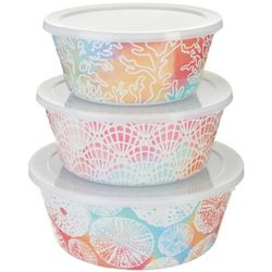 Tropix 3-pc. Sea Shell Nested Bowl & Lid Set