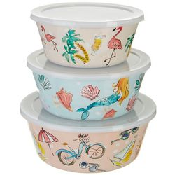 Tropix 3-pc. Florida Doodles Nested Bowl & Lid Set