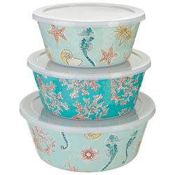Tropix 3-pc. Seahorse Reef Nested Bowl & Lid Set