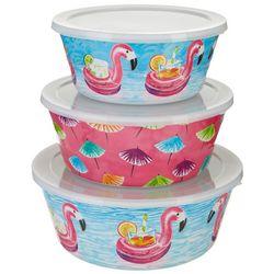 Tropix 3-pc. Flamingo Floaties Nested Bowl & Lid Set