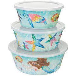Tropix 3-pc. Mermaid's Best Friend Nested Bowl & Lid Set