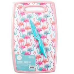 Core Home 2-pc. Flamingo Cutting Board & Knife Set