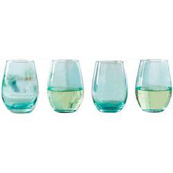 Circleware 4-pc. Calabria Aqua Stemless Wine Glass Set