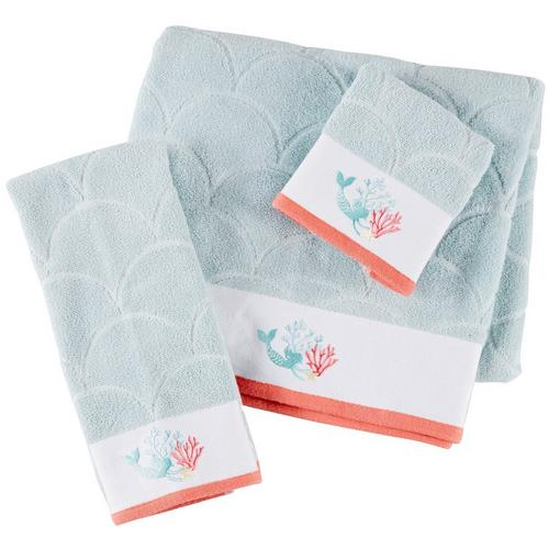 Embroidered Towels Online: Christy Mermaid Embroidered Towel Collection