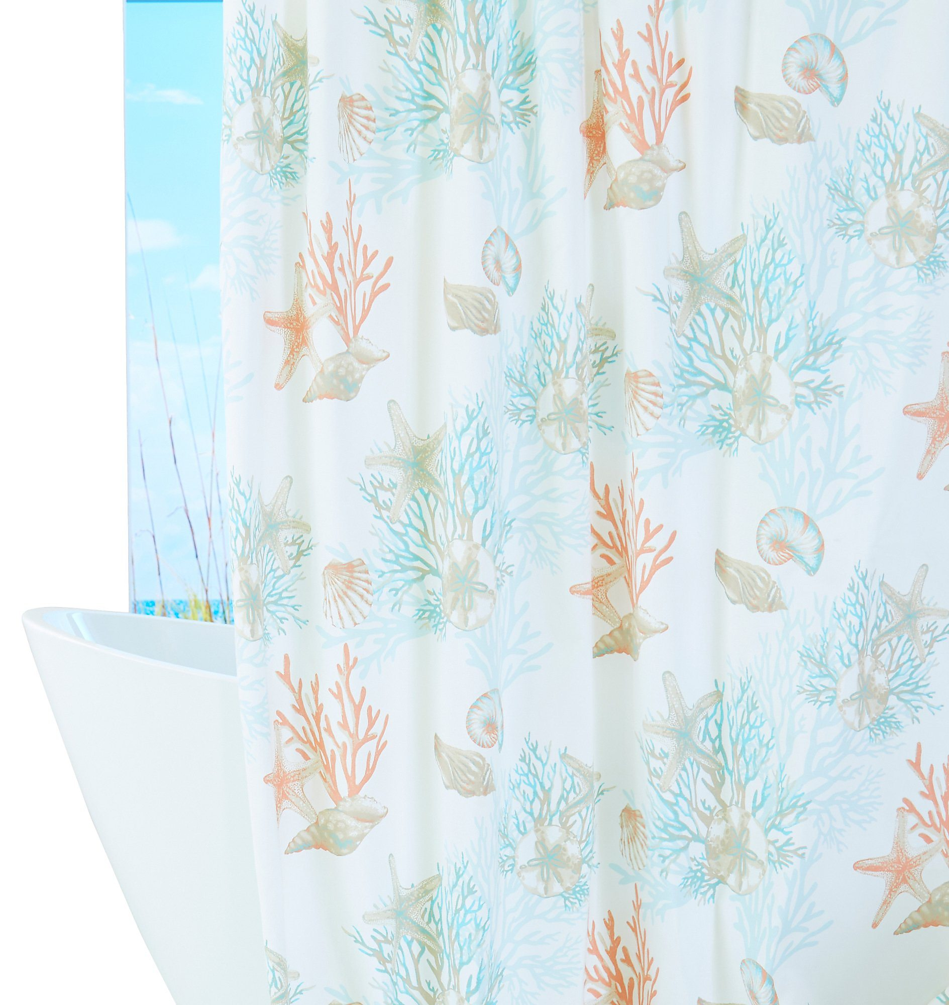 Coastal Home Under The Seashells Shower Curtain One Size White Blue Coral