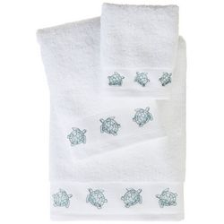 Coastal Home Embroidered Turtle Border Bath Towel Collection