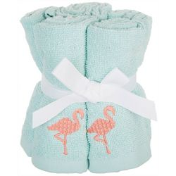 Coastal Home 5-pc. Embroidered Flamingo Wash Cloth Set