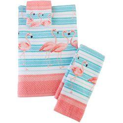 Coastal Home Flamingo Breeze Print Towel Collection