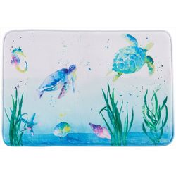 Saturday Knight Watercolor Ocean Bath Rug