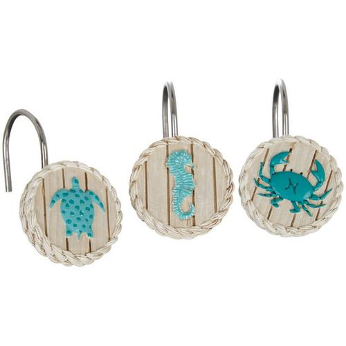 Bacova 12 Pc Coastal Patch Shower Curtain Hooks