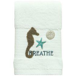 Bacova Coastal Aqua Seahorse Hand Towel
