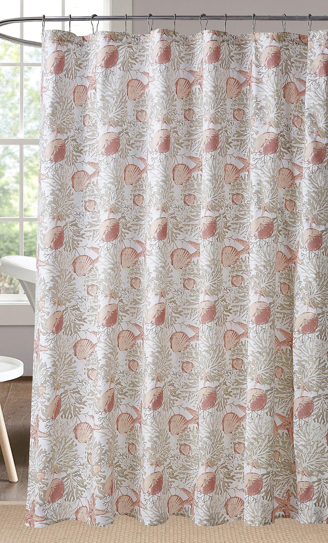 Coastal Home Caspian Sea Shower Curtain One Size Beige Coral White