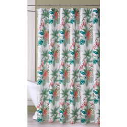 Coastal Home Forest Flamingo Shower Curtain & Hooks Set