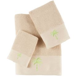 Panama Jack 3-pc. Embroidered Green Palm Tree Towel Set