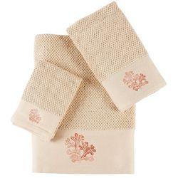 Panama Jack 3-pc. Embroidered Coral Towel Set