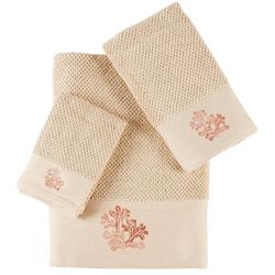 Panama Jack 3-pc. Embroidered Coral Towel Set