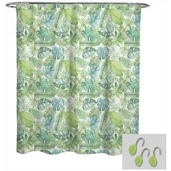 Avanti Palm Leaf Shower Curtain & Hook Set