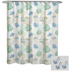 Avanti Tropical Fish Shower Curtain & Hook Set