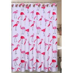 Caribbean Joe Flamingo Shower Curtain & Hook Set