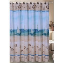 Caribbean Joe Seaside Shower Curtain & Hook Set