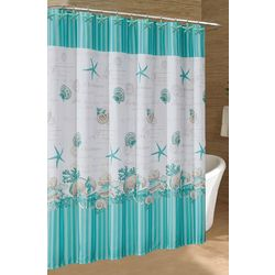 Caribbean Joe Sea Shell Wreath Shower Curtain