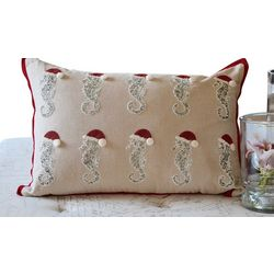Debage Seahorse Santa Row Decorative Pillow