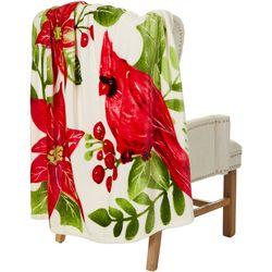 Brighten the Season Poinsettia Cardinal Throw