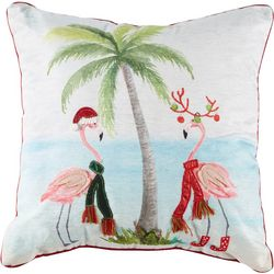 Brighten the Season Flamingo Scarf Party Decorative Pillow