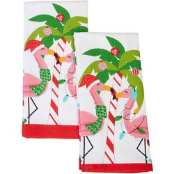 Happy Holiday 2-pk. Deck The Palms Flamingo Kitchen Towels