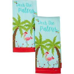 Happy Holiday 2-pk. Deck The Palms Blue Kitchen Towels