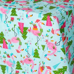 Happy Holiday Flamingo Holiday Vinyl Tablecloth