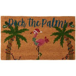 Brighten the Season Deck the Palms Flamingo Coir Mat
