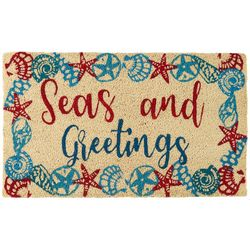 Brighten the Season Seas and Greetings Coir Mat