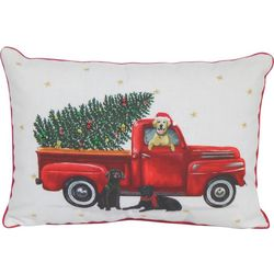 Arlee Holiday Truck With Dogs Decorative Pillow